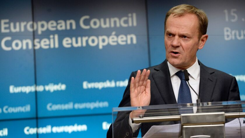 """We should remind our American friends of their own motto: United we stand, divided we fall,"" European Council President Donald Tusk, pictured last month, said Jan. 31, 2017."