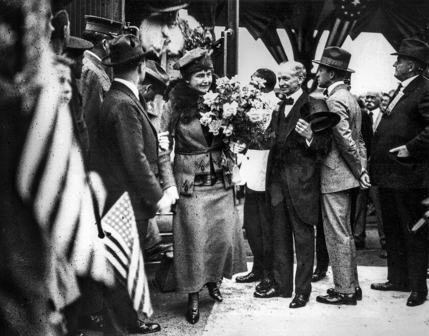 Sept. 20, 1919: Edith Wilson, wife of President Woodrow Wilson, returns to Los Angeles after a short visit to San Diego.