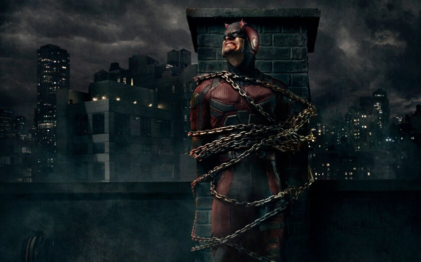 """The vigilante character Daredevil, played by Charlie Cox, on """"Daredevil."""""""
