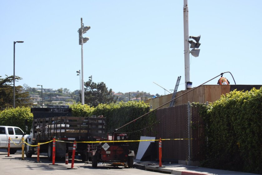 Construction equipment on Fay Avenue is being used for building La Jolla High's new press box.