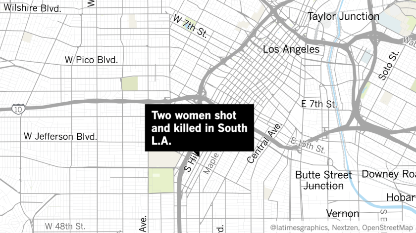 A map showing the areas where two women were shot and killed in South L.A.