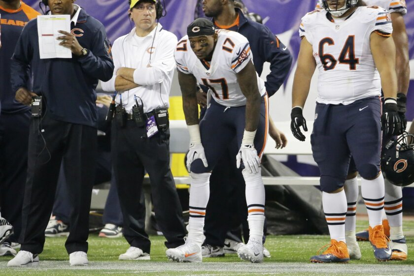 Chicago Bears wide receiver Alshon Jeffery (17) stands on the sideline during overtime of an NFL football game against the Minnesota Vikings, Sunday, Dec. 1, 2013, in Minneapolis. The Vikings won 23-20. (AP Photo/Ann Heisenfelt)