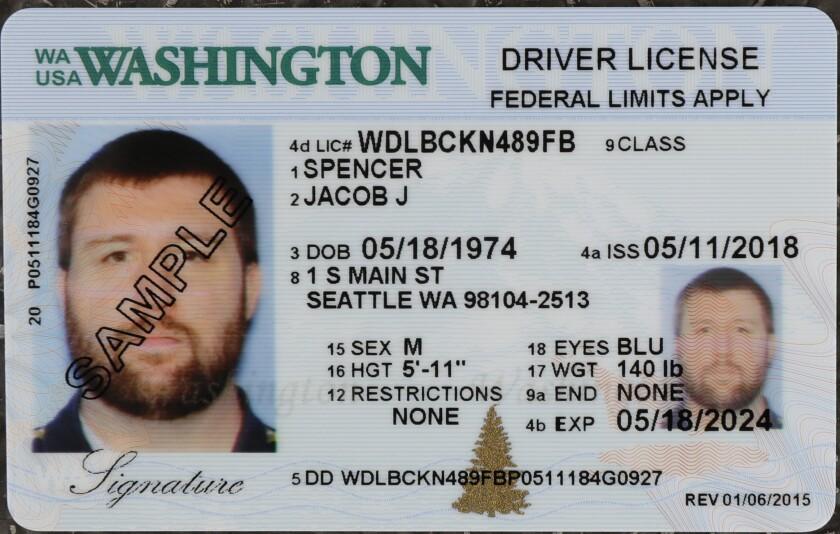 Sample Washington state driver's license