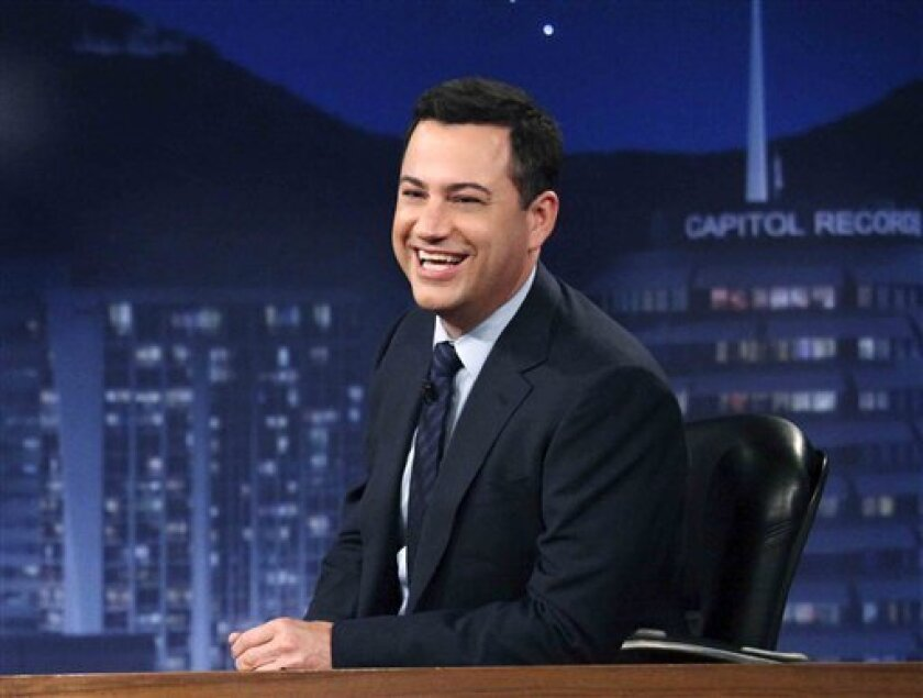 """FILE - This July 25, 2012 photo released by ABC shows Jimmy Kimmel hosting his late night show """"Jimmy Kimmel Live,"""" in the Hollywood section of Los Angeles. Kimmel said on Friday, Jan. 11, 2013, that """"Jimmy Kimmel Live"""" has scheduled Matt Damon as a guest on Jan. 24. (AP Photo/ABC, Richard Cartwright, File)"""