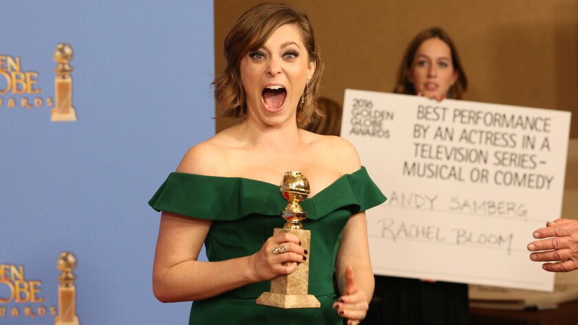 """""""Crazy Ex-Girlfriend"""" actress Rachel Bloom, who seemed thrilled backstage about her trophy for actress in a comedy series, would eventually make her way to the InStyle / Warner Bros. and HBO after-parties."""