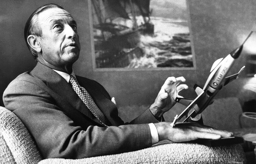 Thomas V. Jones, an aerospace executive who took control of Northrop Corp. in 1960 and took the company to the top ranks of the defense industry, has died at 93. Jones is shown in 1975 in his Century City office with a model of the company's YF-17.