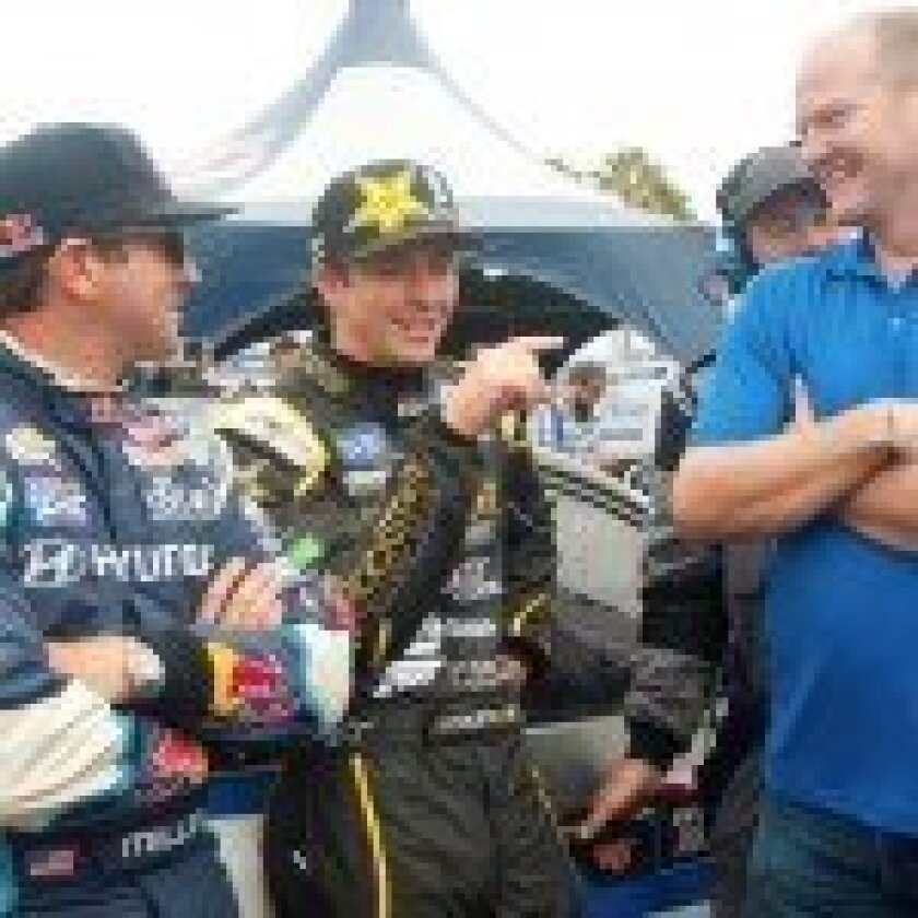 Rhys Millen, Tanner Foust and Tommy Kendall.