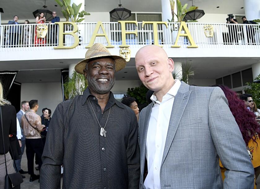 Glynn Turman, left, and Anthony Carrigan at the BAFTA Los Angeles + BBC America TV Tea Party.