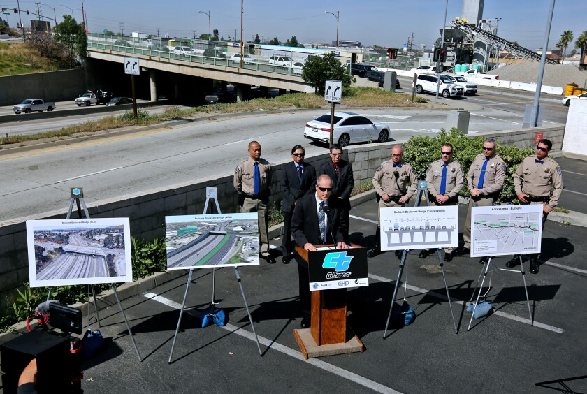 Caltrans District 7 Director John Bulinski at news conference about 5 Freeway closure