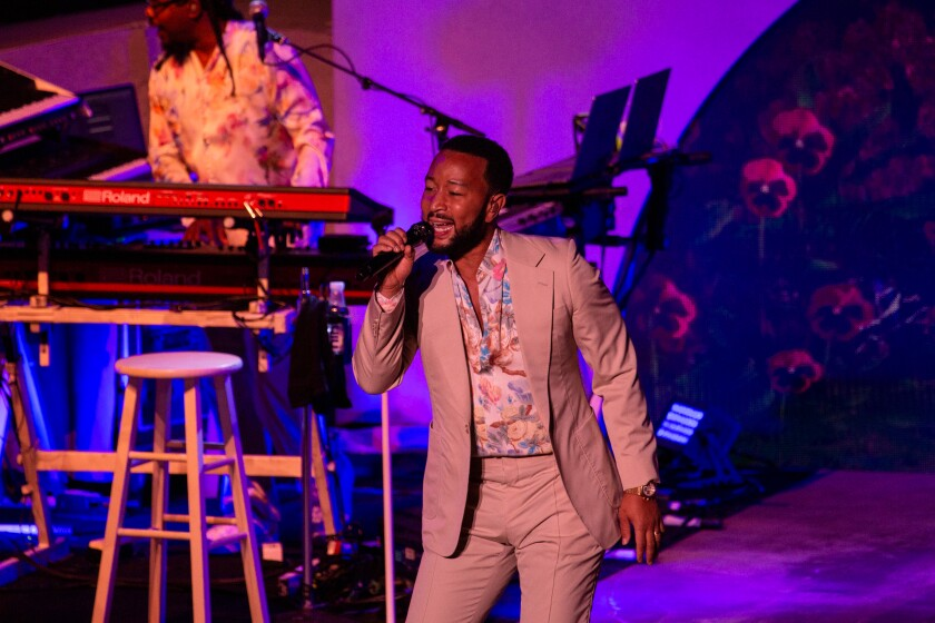 Singer John Legend during the Bigger Love Tour at Cal Coast Credit Union Open Air Theatre on Sunday, Sept. 19, 2021.