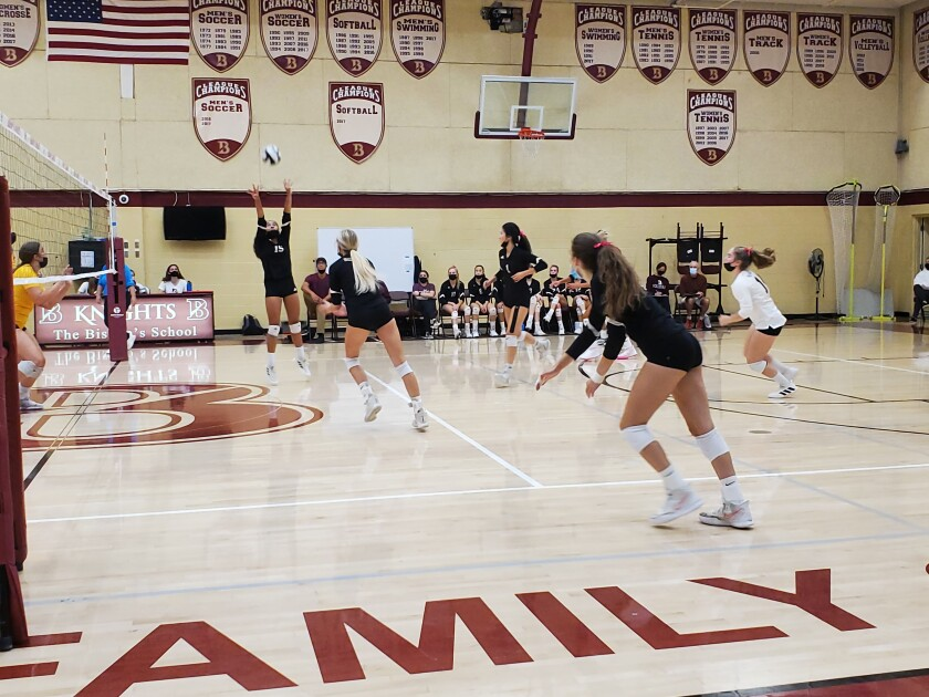 The Bishop's School girls varsity volleyball team takes on Francis Parker School on Oct. 6, ultimately winning 3-0.