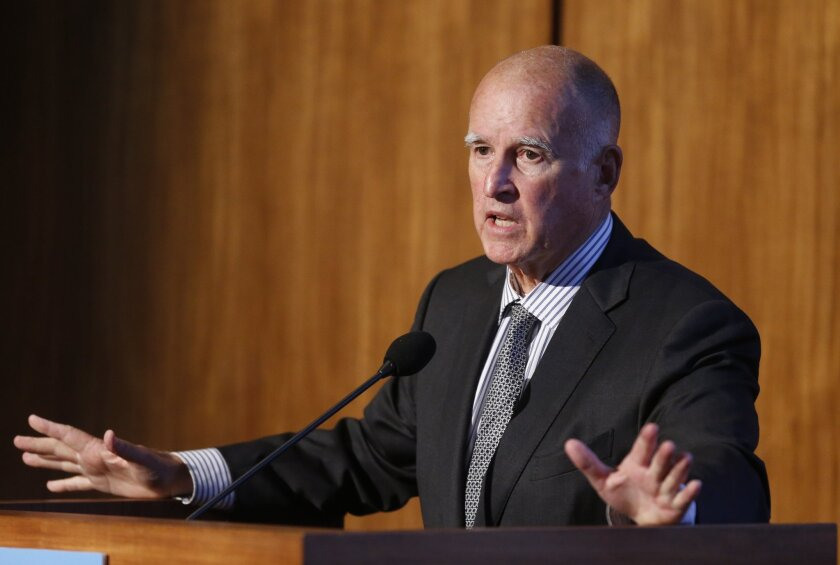 Gov. Jerry Brown speaks at the Carbon Neutrality Initiative at UC San Diego in October. Brown will be in Paris this week for the global climate change summit.