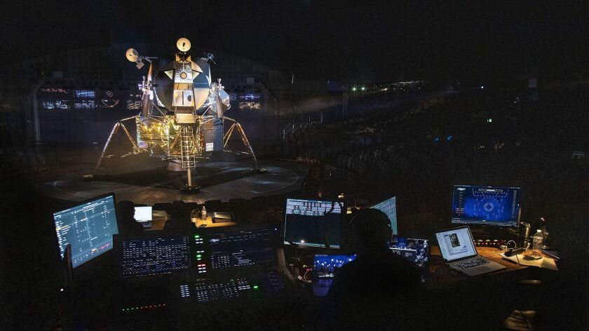 """A replica of the Apollo 11 lunar module is part of """"Apollo 11: The Immersive Live Show"""" inside a dome in a parking lot at the Rose Bowl."""