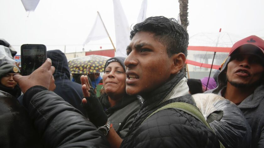 David Vasquez stood next to the group that attempted to march the La Chapparal at the Mexico U.S. bo