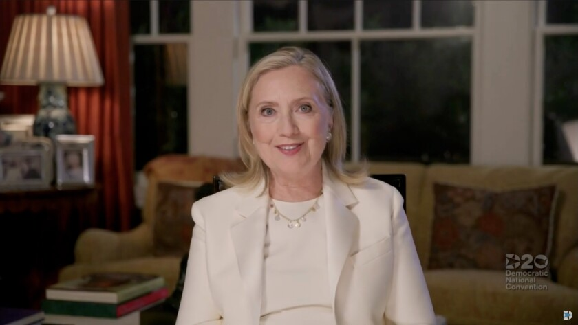 Hillary Clinton addresses the virtual Democratic National Convention