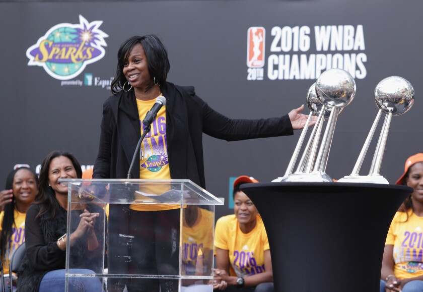 Penny Toler after the Sparks won the 2016 WNBA title.