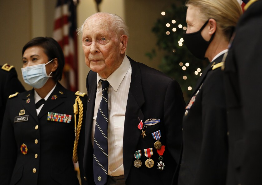World War II veteran Eldon L. Knuth, 95, after a ceremony were he was awarded the Bronze Star