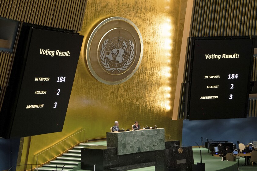 This photo provided by the United Nations shows the results of a vote during a meeting of the General Assembly on the necessity of ending the economic, commercial and financial embargo imposed by the United States against Cuba, at U.N. headquarters, Wednesday, June 23, 2021. (Eskinder Debebe/United Nations via AP)