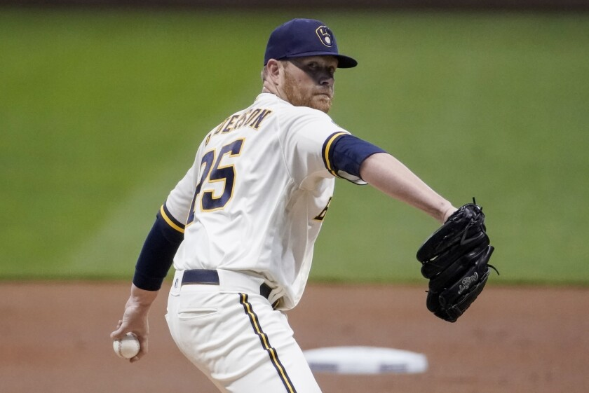 Milwaukee Brewers starter Brett Anderson throws during the first inning of a baseball game against the Chicago White Sox Monday, Aug. 3, 2020, in Milwaukee. (AP Photo/Morry Gash)