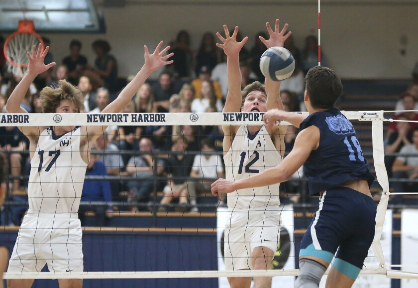 Photo Gallery: Corona del Mar vs. Newport Harbor in boys' volleyball