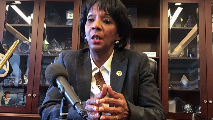 Los Angeles County Dist. Atty. Jackie Lacey speaks during a 2017 news conference.