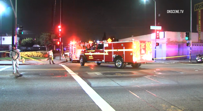 The shooting was reported about 9:40 p.m. near 87th Street and Budlong Avenue in South Los Angeles.