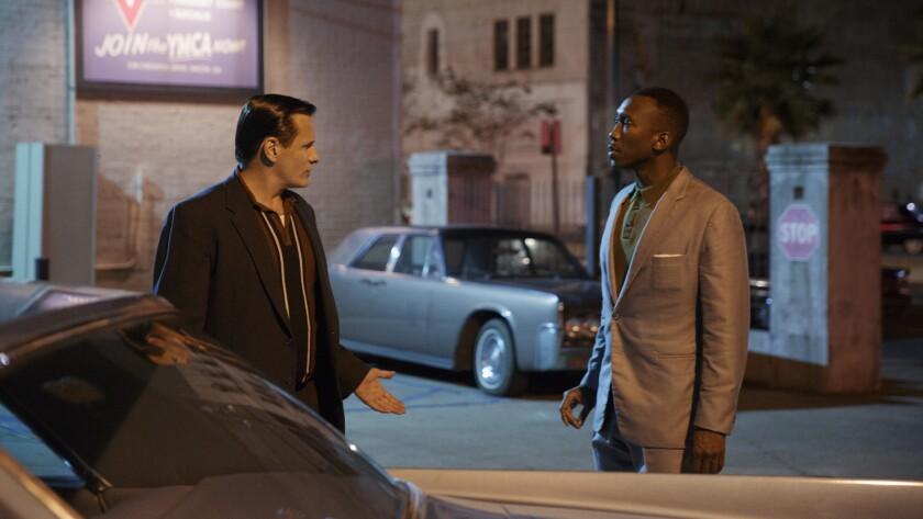 "(L-R) - Mahershala Ali as Dr. Donald Shirley and Viggo Mortensen as Tony Vallelonga in ""Green Book,"""