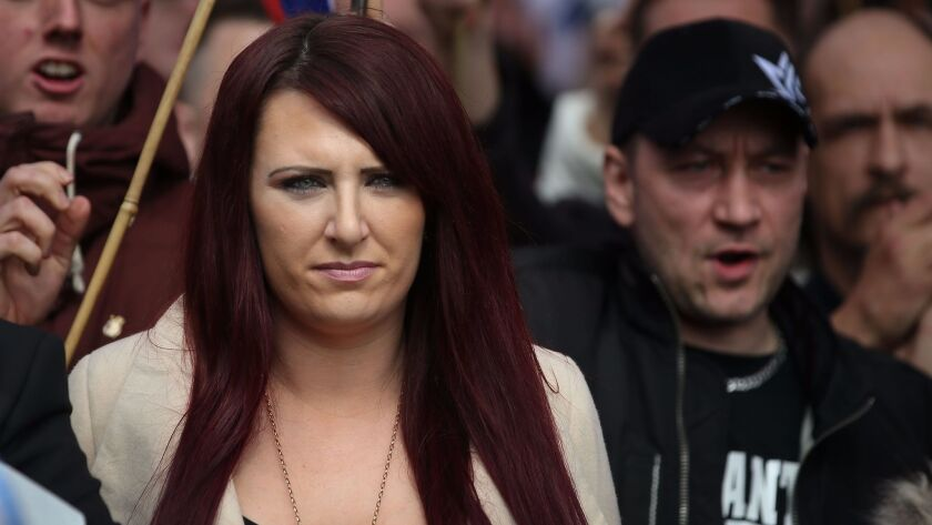 Jayda Fransen of the far-right organization Britain First in central London in April 2017.