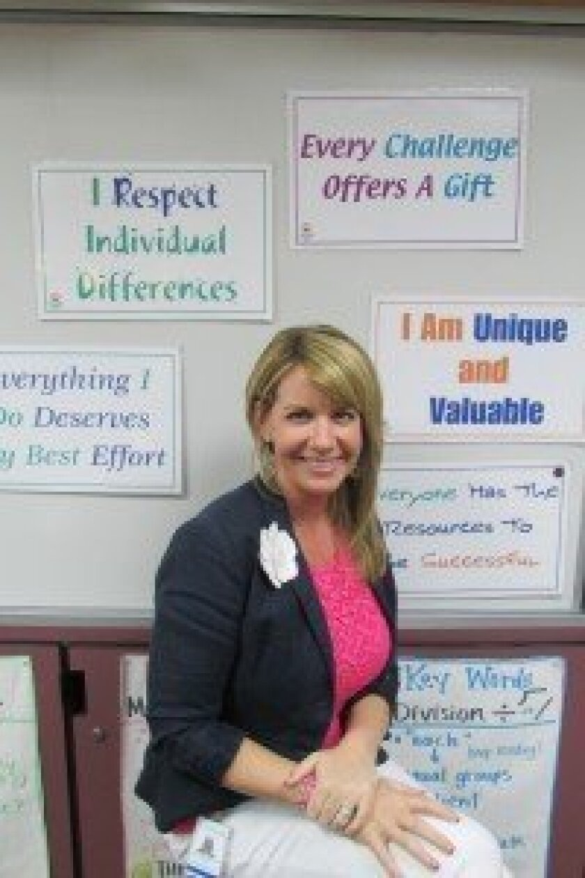 "Solana Santa Fe teacher Monica Rainville was named the Solana Beach School District ""Teacher of the Year."" Photo/Karen Billing"