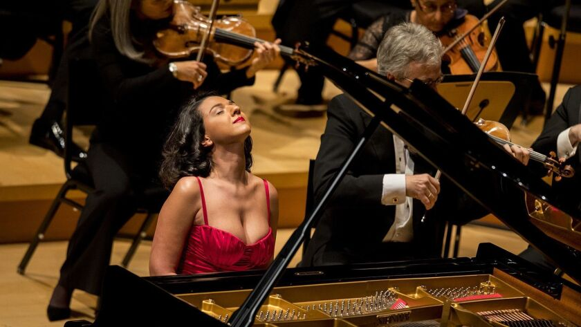 LOS ANGELES,CA --THURSDAY, DECEMBER 14, 2017--Pianist Khatia Buniatishvili performs Mozart's Piano C