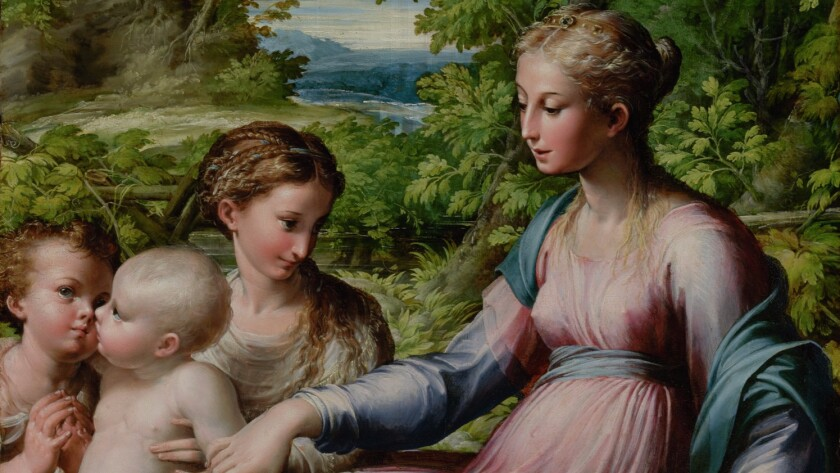 "A detail of the 16th century painting ""Virgin With Child, St. John the Baptist, and Mary Magdalene"" by the artist known as Parmigianino."