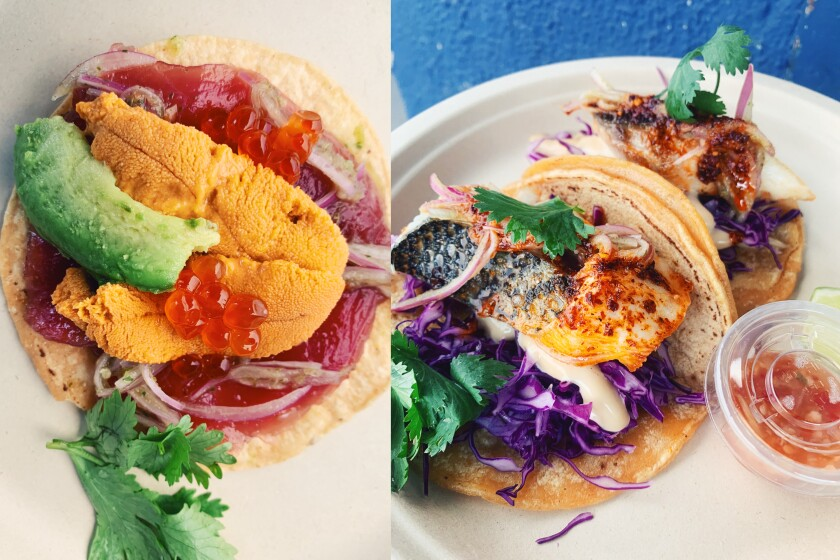 The premium tostada with albacore, uni and ikura, left, and the dry-aged fish taco at Anajak Thai.