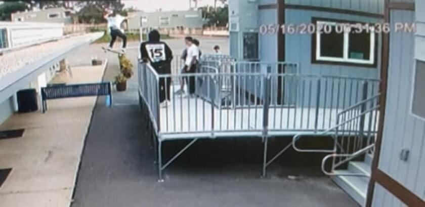 Surveillance footage shows skaters on the Winston School campus.