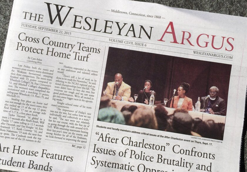 The Wesleyan Argus student newspaper is displayed on the campus of Wesleyan University in Middletown, Conn Sept. 24.
