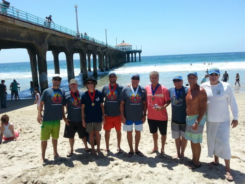 Del Mar BodySurfers at the International Bodysurfing Championships: L-R: Jeff Robbins, Hal Handley, Tom Marr, Eric Phleger, Robert Wilcox, David Lane (winner of the Grand Masters division). Brent Armstrong (winner of the Mens Senior division), Rick Hornbuckle, and Vince Askey. Courtesy photo