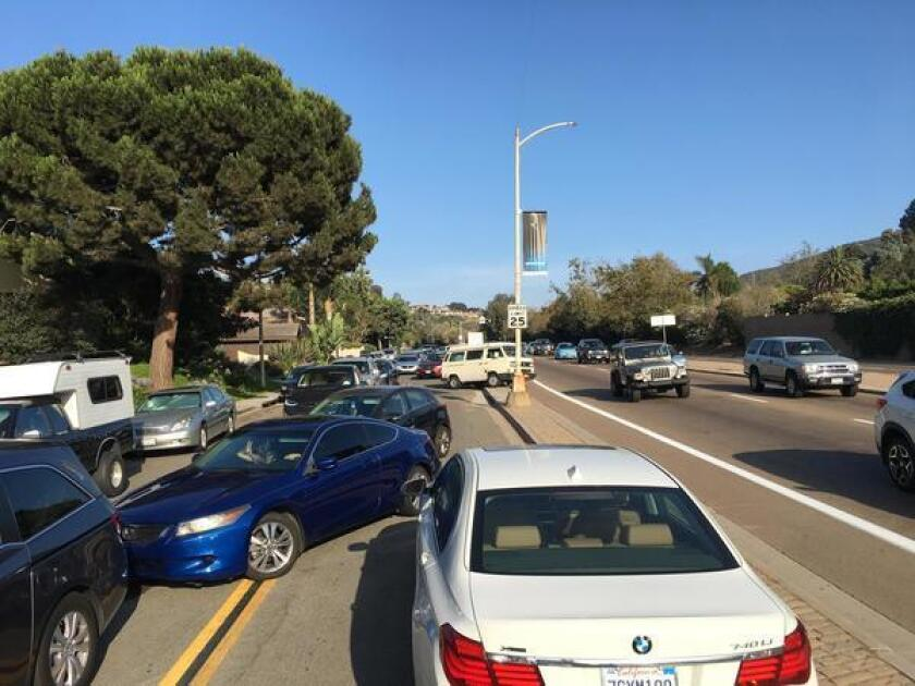 Disorderly driving is observed along the regularly congested La Jolla Parkway (pictured on the right), running parallel to Azure Costa Drive (shown on the left). Photo by Dave Hood.