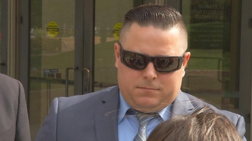 Patrick Mara, a former detective with the Bakersfield Police Department, leaves the federal courthouse in Fresno on Oct. 24 after he was sentenced to five years in prison for conspiracy to distribute methamphetamine.