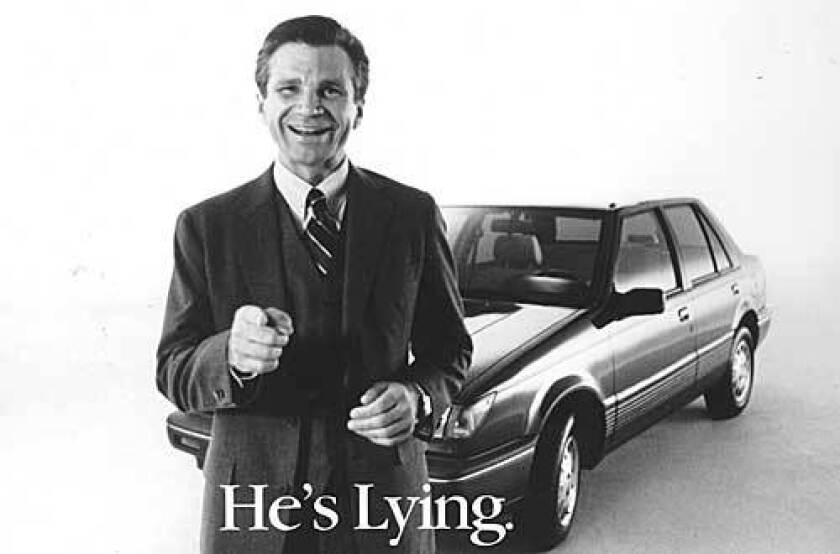 David Leisure portrayed the sleazy car salesman, Joe Isuzu, in a series of Isuzu ads in the late 1980s and early '90s.