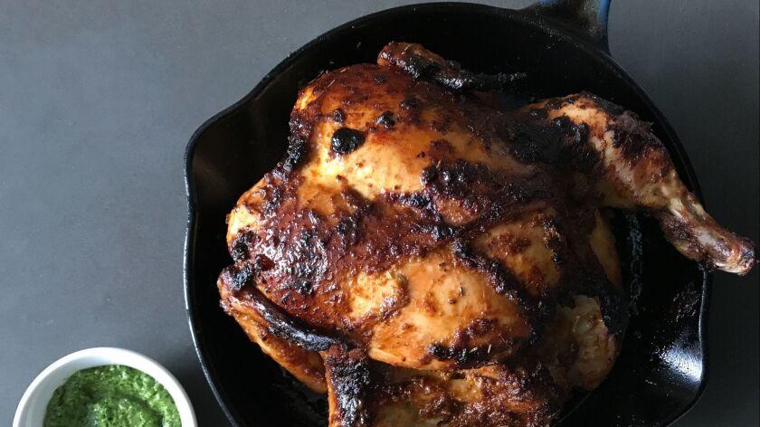 """Peruvian chicken """"Pollo a la brasa and green aji sauce"""" from the book """"Buttermilk Graffi"""
