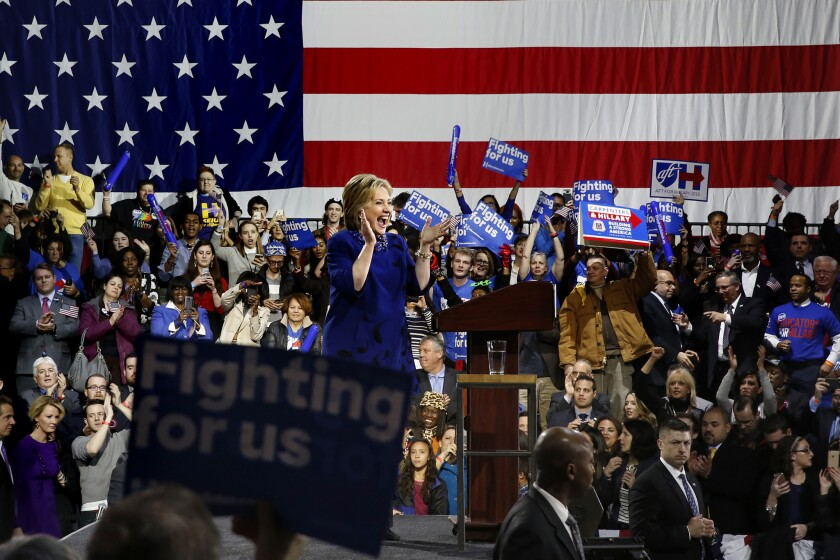 Hillary Clinton holds a rally in New York.