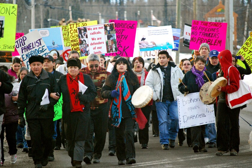 Residents of Fort St. James, British Columbia, at a protest over the proposed Northern Gateway pipeline in 2012.