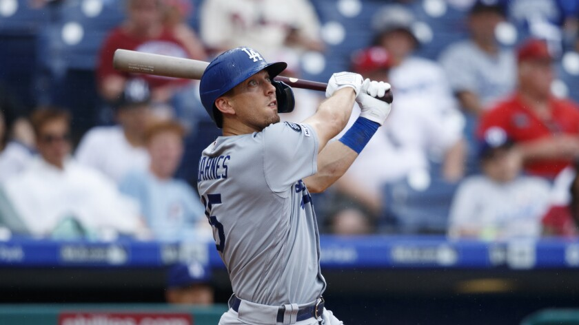 Dodgers' Austin Barnes bats during a game against the Philadelphia Phillies on July 18 in Philadelphia.