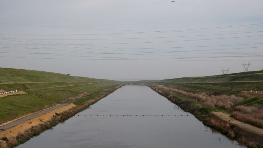 """BYRON, CA - Feb. 26, 2016: The intake channel at the C.W. """"Bill"""" Jones Pumping Plant in Tracy, Calif"""