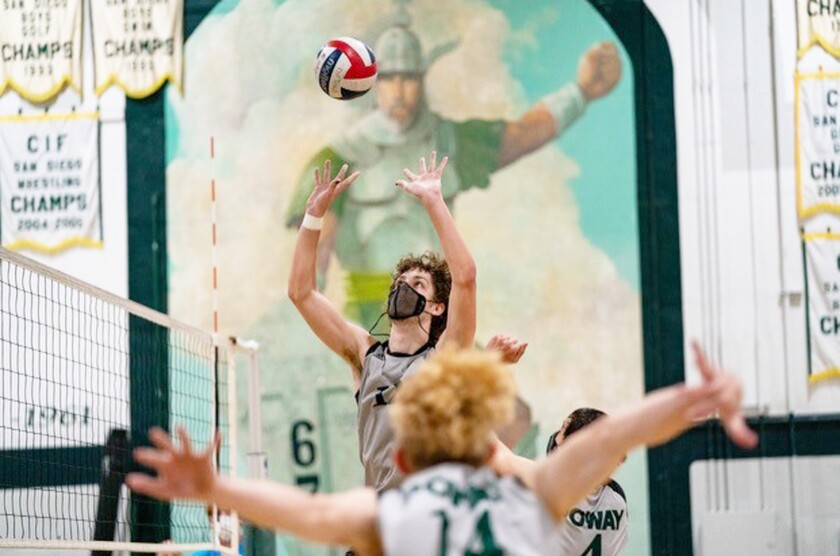 Niko Williams in a Poway High volleyball game.