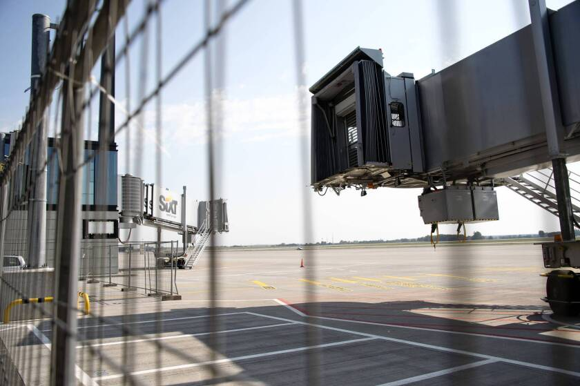 Jetways await planes and passengers at the stalled Berlin Brandenburg Airport in Germany.