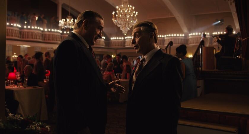 "Robert De Niro and Al Pacino in a scene from ""The Irishman."""