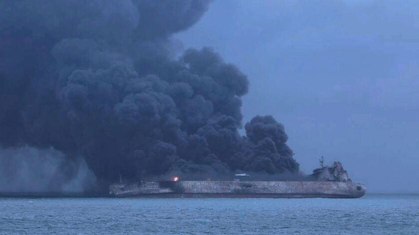The Panama-registered tanker Sanchi on fire after a collision with Hong Kong-registered freighter CF Crystal off China's eastern coast.
