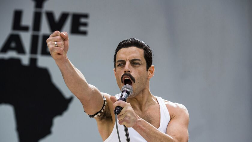 "This image released by Twentieth Century Fox shows Rami Malek in a scene from ""Bohemian Rhapsody."" M"
