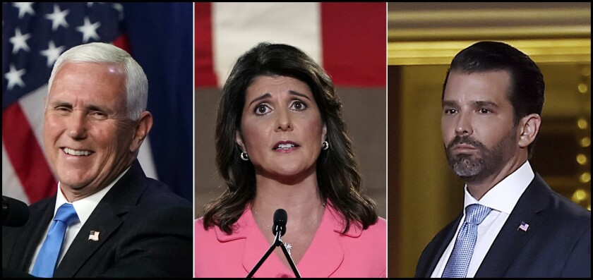 Triptych shows Vice President Mike Pence, former U.S. Ambassador to the U.N. Nikki Haley and Donald Trump Jr.