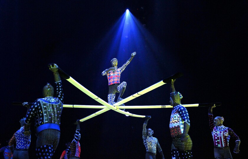 """Cirque du Soleil performers in """"Totem"""" at the Port of Los Angeles on Oct. 13, 2013."""